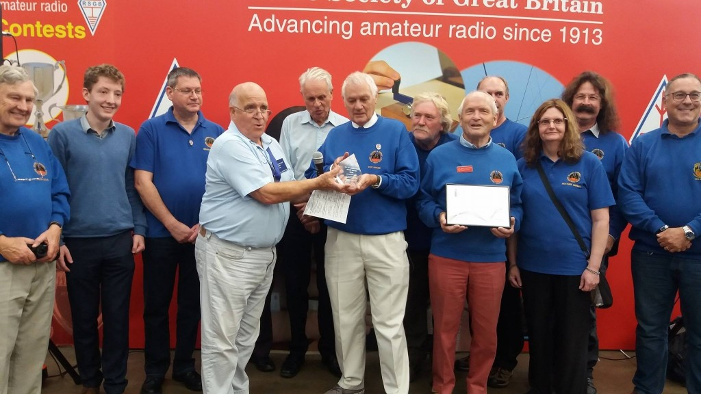 Photo of TDARS members receiving club of the year (large clubs) award for 2017 at Newark