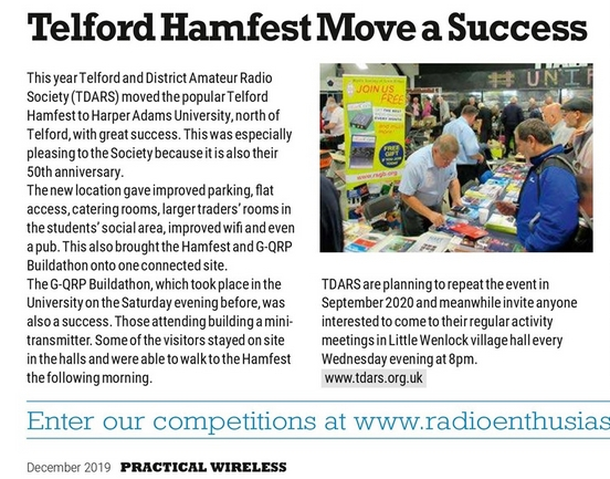 Practical Wireless December 2019 published a positive review of this years Telford Hamfest.  Titled Telford Hamfest Move a Success.